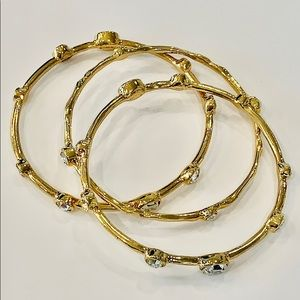 R. J. Graziano gold crystal set of bangle bracelet